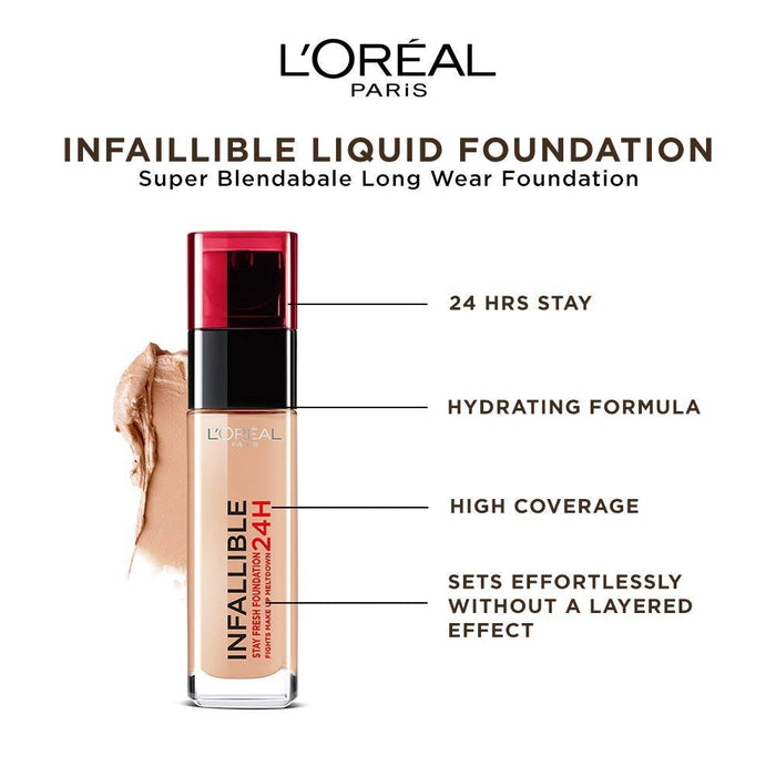 LOréal Infallible 24H Liquid Foundation 145 Rose Beige. 30ml (Made in France). - Talabac