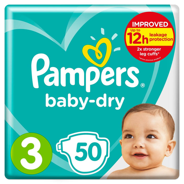 Pampers Baby-Dry Size 3 50 per pack, 6-10 kg (Made in Britain)