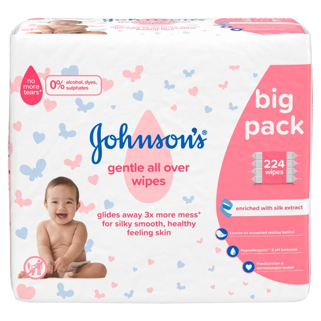 Johnson's Baby Gentle All Over Wipes 56 per pack X 4 - 224 Wipes (Made in Britain)
