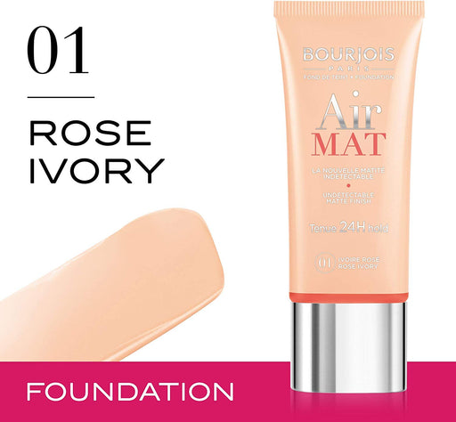 Bourjois Air Mat Matte Finish 24H Foundation For Women, 01 Rose Ivory (Made in France). - Talabac