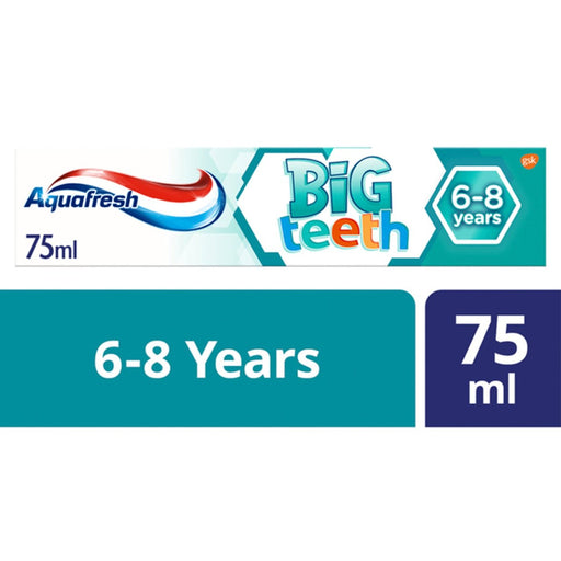 Aquafresh Big Teeth 6-8 Years Kids Toothpaste 75mll (Made in Britain).