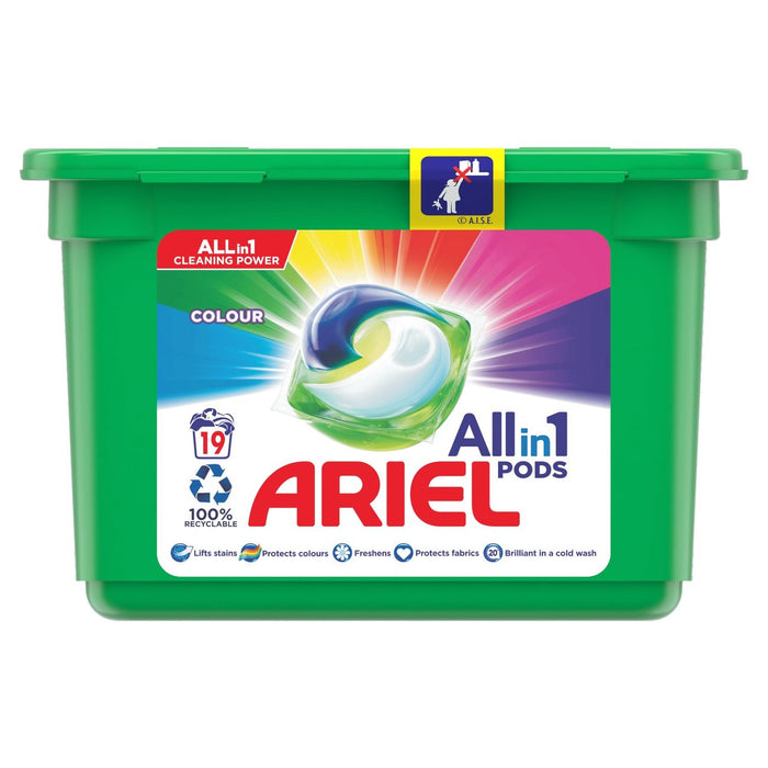 Ariel Colour All-in-1 Pods Washing Liquid Capsules 19 per pack