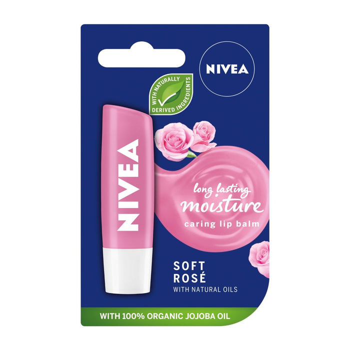 Nivea Soft Rose Lip Balm 4.8g (Made in Germany)