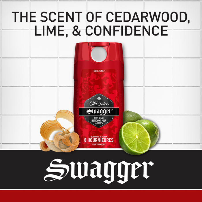Old Spice Red Zone Swagger Scent Body Wash for Men, 473ml - 16 oz