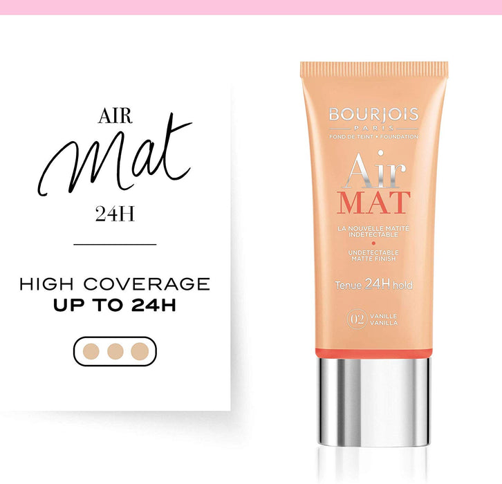 Bourjois Air Mat Matte Finish 24H Foundation For Women, 02 Vanilla Made in France). - Talabac