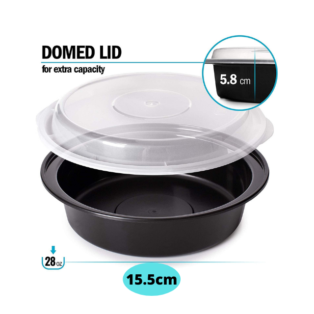 Round Plastic Meal Prep Containers with lid - [10 Pack, 28 oz)