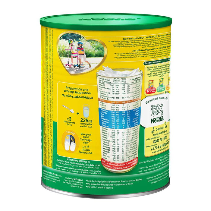 Nestle NIDO Three Plus Growing Up Milk Powder For Toddlers 3-5 Years 1800g Tin - Talabac