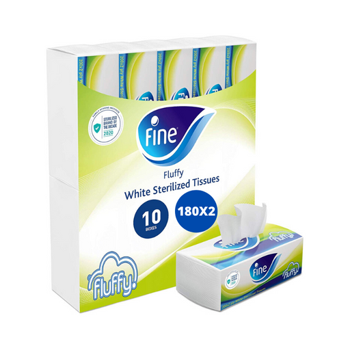 Fine, Facial Tissues, Fluffy, 180x2 Ply White Tissues, pack of 10 boxes, 1800 tissues