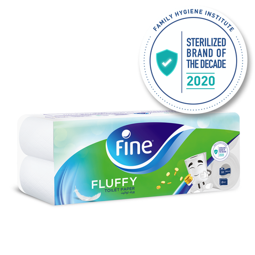 Fine - Toilet Paper, Fluffy, 200 sheets x2 Ply, pack of 10 rolls