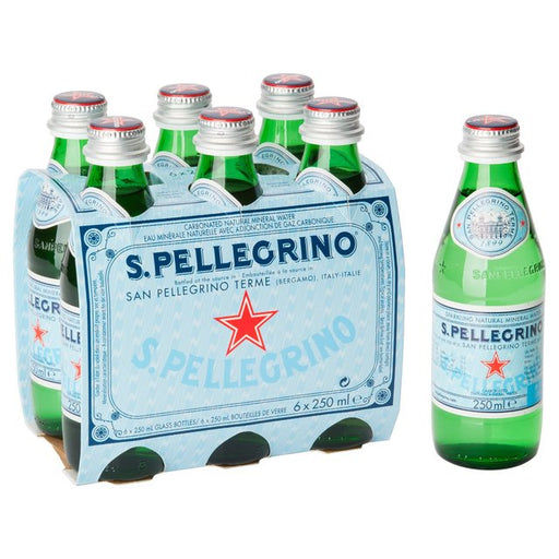 San Pellegrino Sparkling Natural Mineral Water Glass 6 x 250ml