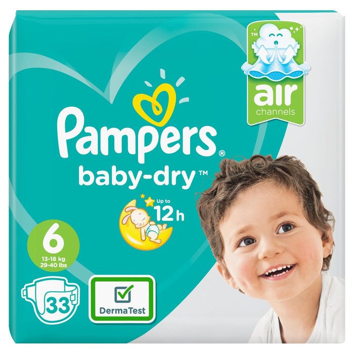 Pampers Baby Dry Nappies Size 6 Pack 33 per pack (Made in Britain) - Talabac