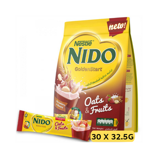 Nestle NIDO Golden Start with Oats and Fruits, Strawberry and Banana Milk Drink -30 Sticks (30 x 30g)