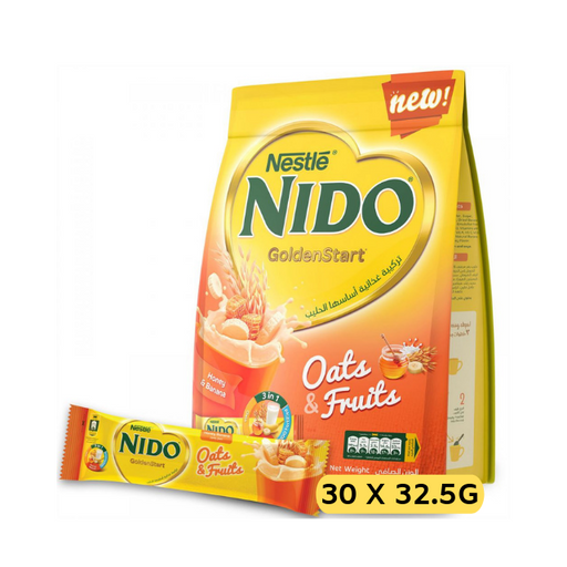 Nestle NIDO Golden Start with Oats and Fruits, Honey and Banana Milk Drink -30 Sticks (30 x 30g)