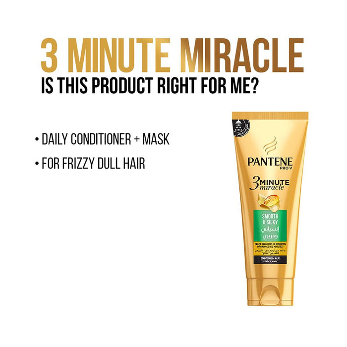 Pantene Pro-V 3 Minute Miracle Smooth & Silky Conditioner + Mask 200ml - Talabac