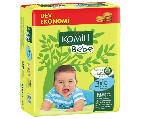 KOMILI - Size 3 Large 4-9 KG 54 nappies (Made in Turkey).
