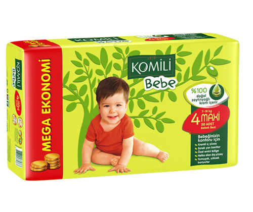 KOMILI - Size 4 Large 7-18 KG 45 nappies (Made in Turkey).