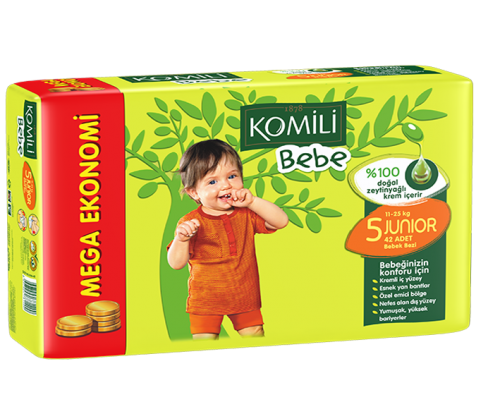 KOMILI - Size 5 Large 11-25 KG 36 nappies (Made in Turkey).
