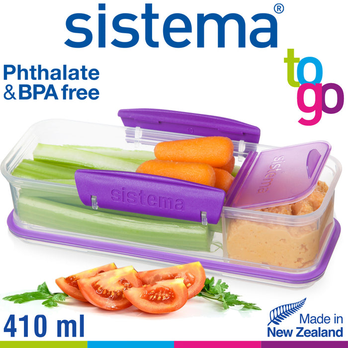 Sistema 410ml Two Compartment Snack Attack Box, Blue - Talabac