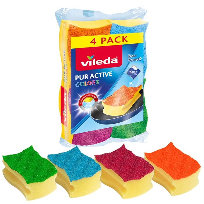 Vileda Pack of 3 + 1 Fibre with Sponge Scourers Colors - Talabac