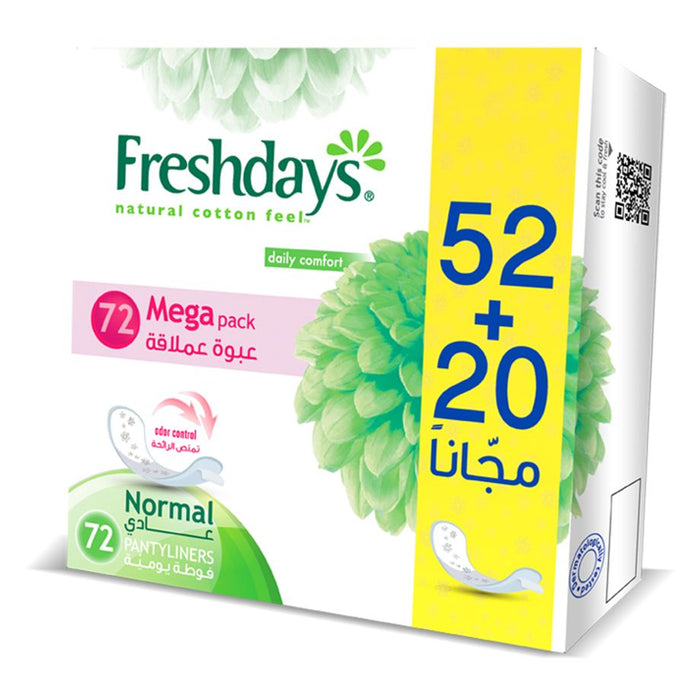 Freshdays Daily Liners Normal 52+20 Pads FREE - Talabac