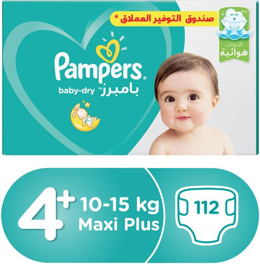 Pampers Active Baby Dry Diapers, Size 4+, Mega Pack - 9-16 kg, 112 Count