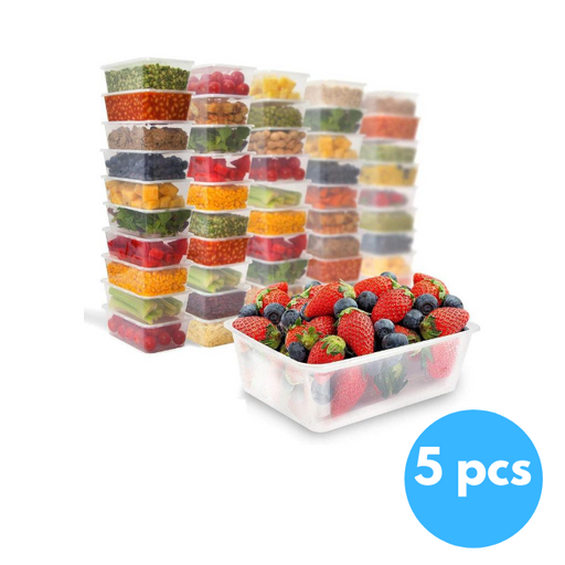 RZ Crystal Clear Plastic Rectangular Food Storage 1000g - 5 pcs
