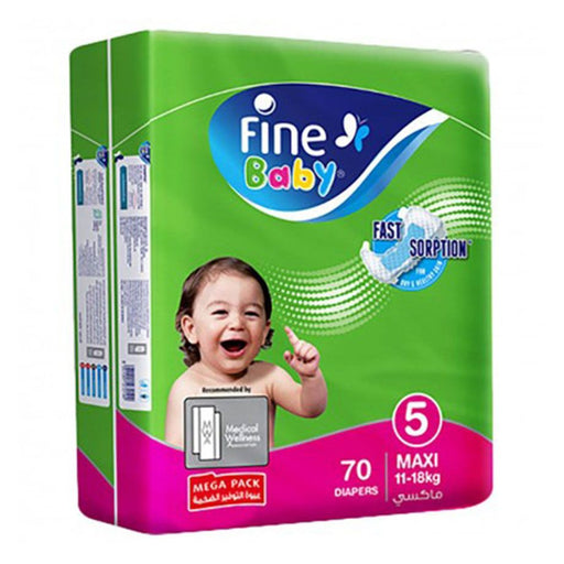 Fine Baby Diapers Green Fast Sorption, Maxi 11-18 Kgs, Mega Pack, 70 Count - Talabac