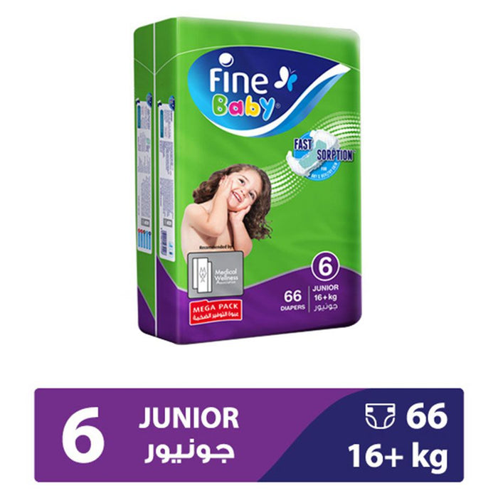 Fine Baby Diapers Green Fast Sorption, Junior 16+ Kgs, Mega Pack, 66 Count - Talabac