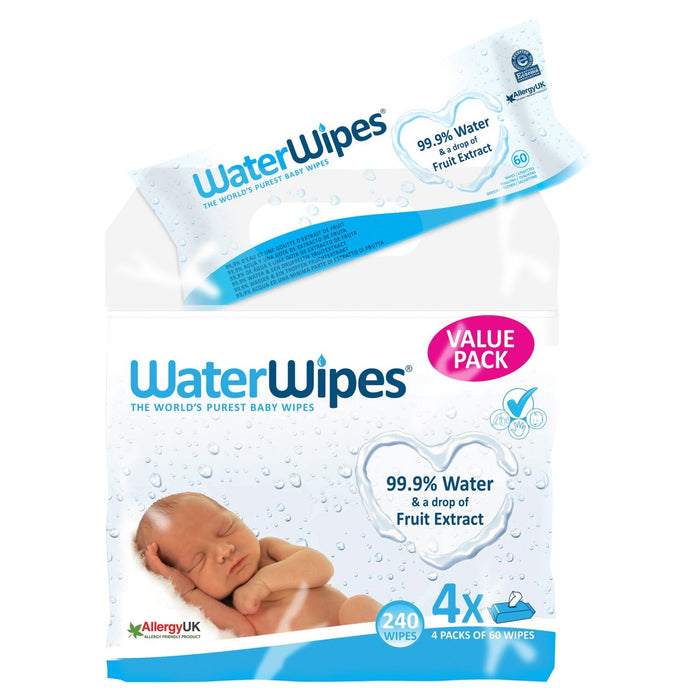 WaterWipes Sensitive Baby Wipes 4 x 60 per pack (made in the Ireland) - Talabac