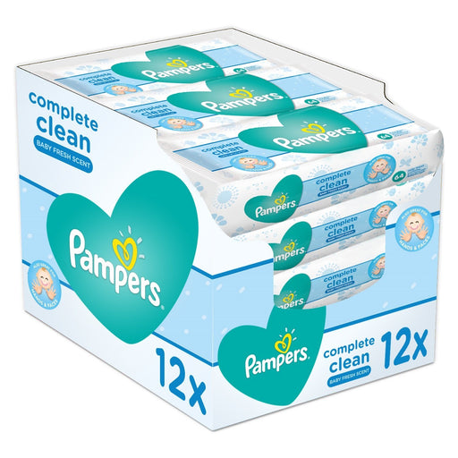 Pampers Complete Clean Baby Wipes Fresh Scent 64 Wipes (X 12) Made in Spain - Talabac