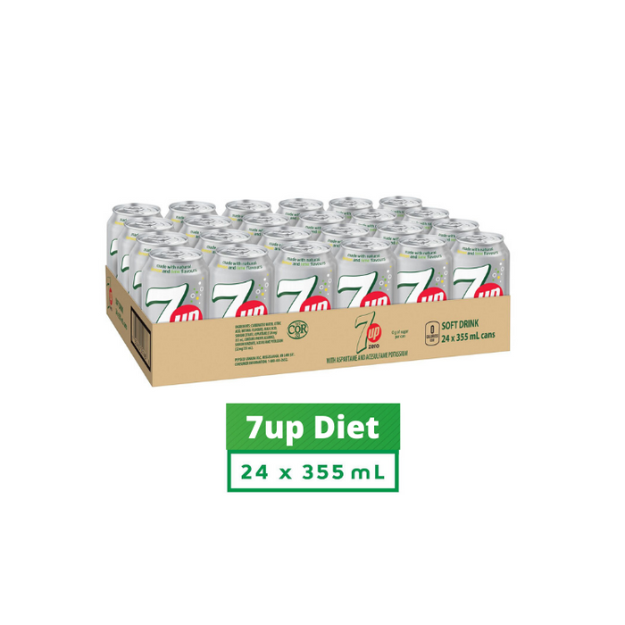 7UP Soft Drink Diet 355 mL Cans, 24 Pack