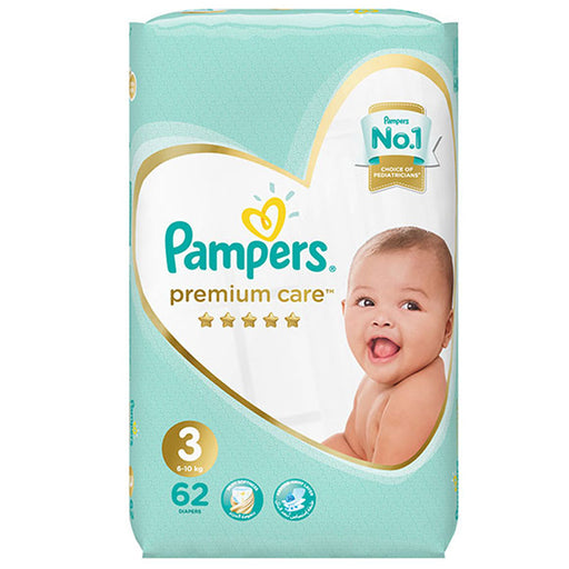 Pampers Premium Care Diapers, Size 3, Midi, 6-10 Kg, Mega Pack, 62 Count