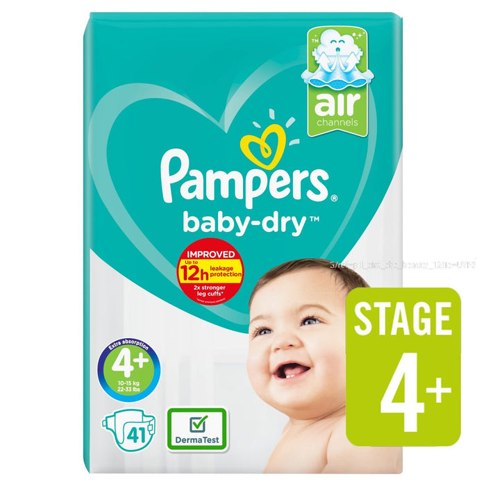 Pampers Active Baby Dry Diapers, Size 4+, Mega Pack 9-15 kg, 41 Count - Talabac