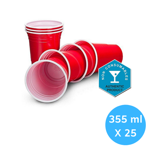 RZ Apple Red American Party Cups - 12oz (355ml) - Disposable Party Cups - Packs of 25