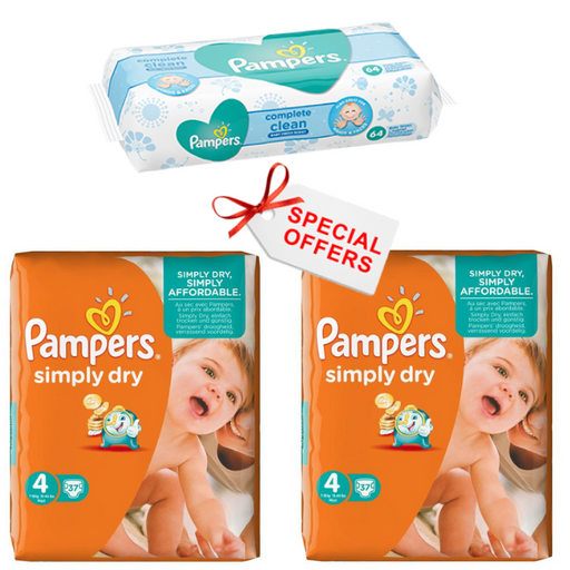 Pampers Simply Dry Nappies Size 4 7-18 Kg Pack 74 per pack (Made in Britain)