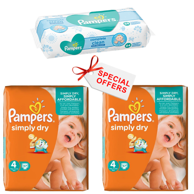 Pampers Simply Dry Nappies Size 4 7-18 Kg Pack 74 per pack (Made in Britain) - Talabac