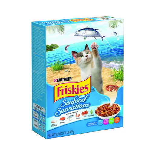 Purina Friskies Seafood Sensations Cat Dry Food, 459g