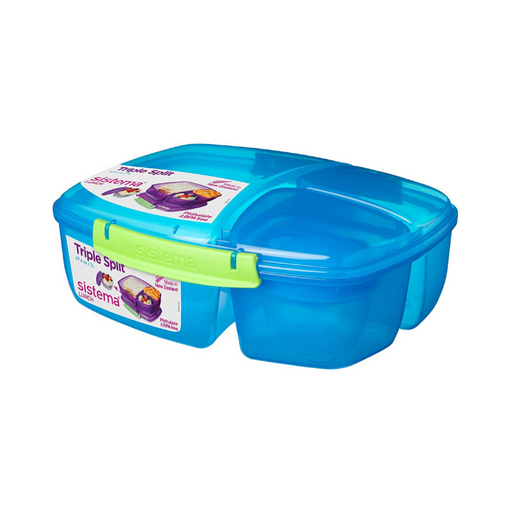 Sistema Lunch Triple Split Lunch Box with Yoghurt Pot, 2 L, Blue - Talabac