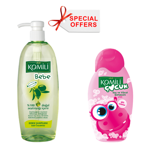Komili Baby hair Shampoo + Komili Body Strawberry - OFFER - (Made in Turkey). - Talabac