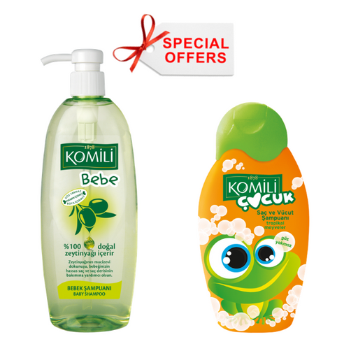 Komili Baby hair Shampoo + Komili Body Tropical Fruits - OFFER - (Made in Turkey). - Talabac