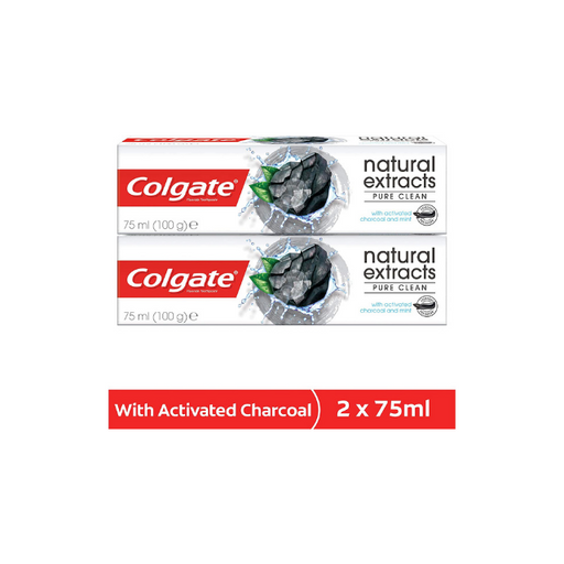 Colgate Natural Extracts Deep Clean with Activated Charcoal Toothpaste 75ml Pack of 2