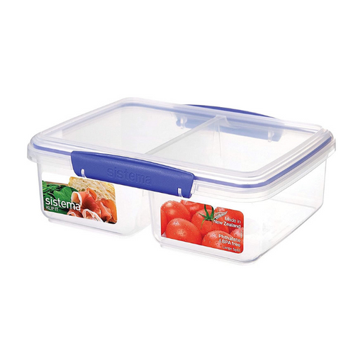 Sistema KLIP IT Collection Large Rectangle Food Storage Container with Split Compartments, 64 oz./1.9 L, Clear/Blue