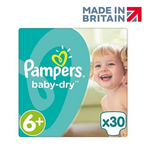 Pampers Baby Dry Nappies Size 6+ Essential Pack 30 per pack (Made in Britain)