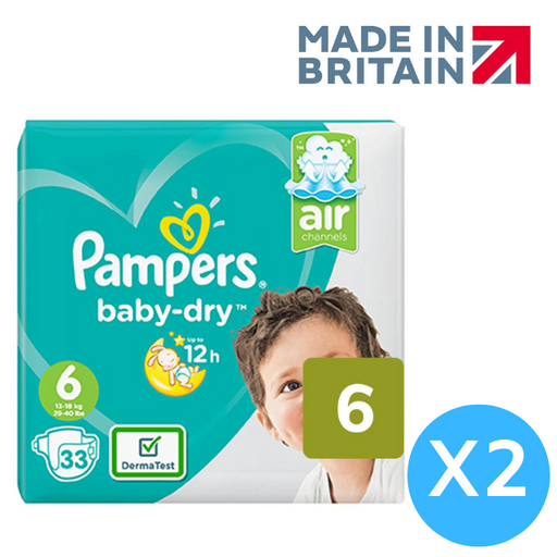 Pampers Baby Dry Nappies Size 6 Pack 66 per pack (Made in Britain) - Talabac