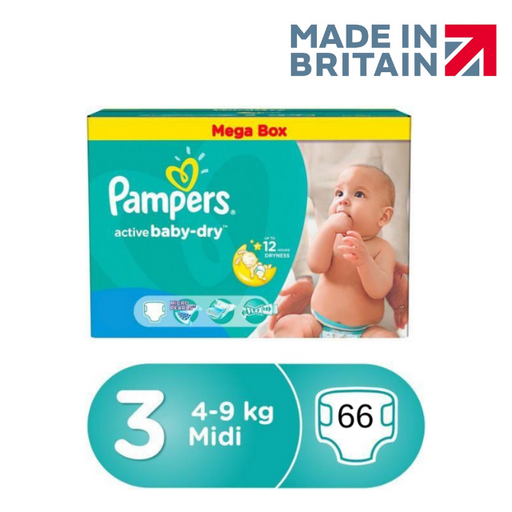 Pampers baby-dry Size 3, 4-9 kg, 66 Count (Made in Britain)