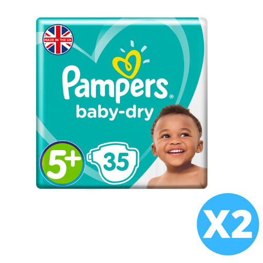 Pampers Active Baby Jumbo Pack, Size 5+ 70 Diapers 12-17 Kg. (Made in Britain).