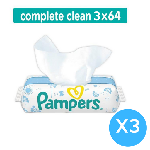 Pampers Complete Clean Baby Wipes Fresh Scent 64 Wipes (X 3) Made in Spain