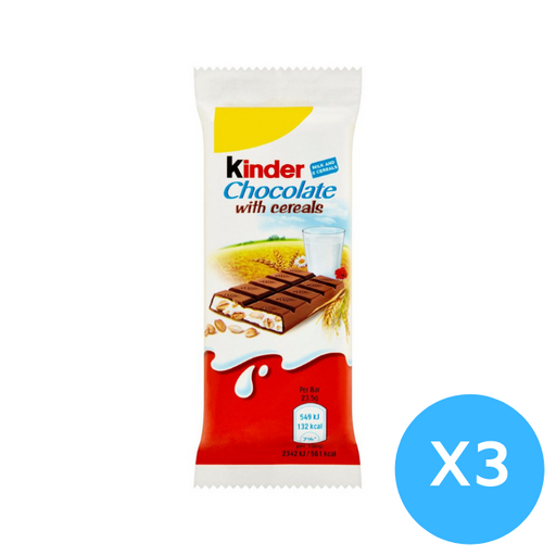 Kinder Chocolate with cereals bars Pack of 3