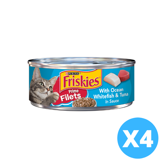 Purina Friskies with ocean whitefish & Tuna in souce Pack of 4 Pieces, 156g