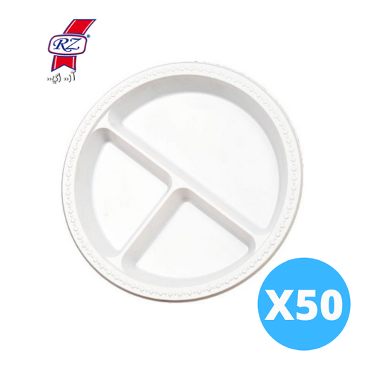 RZ Plastic white Divided Plates - 50 pcs
